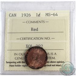 1-cent 1926 ICCS Certified MS-64 RED. Note coin has darker tones throughout the lettering. Worth a g