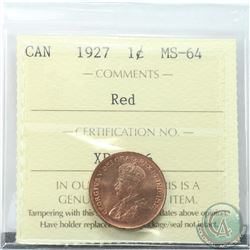1-cent 1927 ICCS Certified MS-64 RED. Flashy Coin