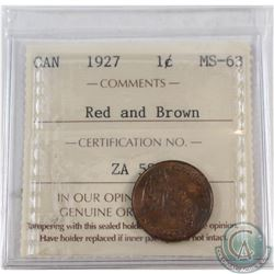 1-cent 1927 ICCS Certified MS-63 Red & Brown.