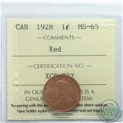 1-cent 1928 ICCS Certified MS-65 RED  *Tied for the highest grade *