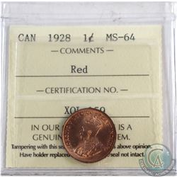 1-cent 1928 ICCS Certified MS-64 RED.