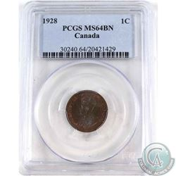 1-cent 1928 PCGS Certified MS-64 Brown. Coin contains an attractive blue glow with hints of red lust