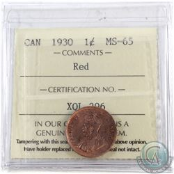 1-cent 1930 ICCS Certified MS-65 RED  *LOW POP* Tied for the highest grade