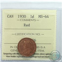 1-cent 1930 ICCS Certified MS-64 RED