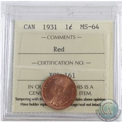 1-cent 1931 ICCS Certified MS-64 RED