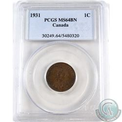 1-cent 1931 PCGS Certified MS-64 Brown.