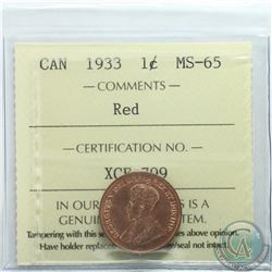 1-cent 1933 ICCS Certified MS-65 RED  Tied for highest grade.
