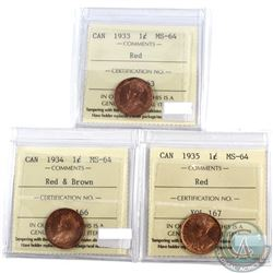1-cent, 1933 RED, 1934 R&B, & 1935 RED All ICCS Certified MS-64  3pcs.