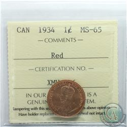 1-cent 1934 ICCS Certified MS-65 RED. A Full red coin with choice eye appeal.