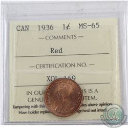 1-cent 1936 ICCS Certified MS-65 RED.