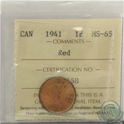 1-cent 1941 ICCS MS-65 RED
