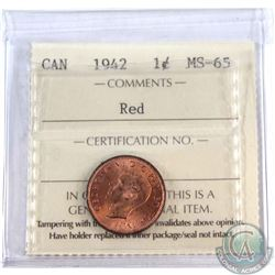 1-cent 1942 ICCS MS-65 RED  Original Burnt orange tones. Tied for highest grade by ICCS.