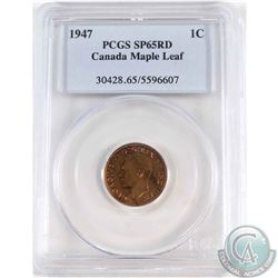 1-cent 1947 Maple Leaf PCGS Certified SP-65 Red.