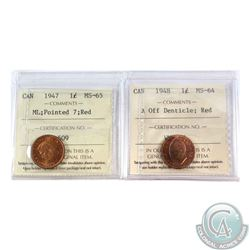 1-cent 1947 ML Ptd 7 ICCS Certified MS-65 Red & 1948 A off Denticle ICCS Certified MS-64 Red. 2pcs.
