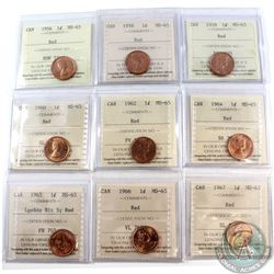 1-cent 1956, 1958, 1959, 1960, 1962, 1964, 1965 LgeBds Blt 5, 1966, & 1967 ICCS Certified MS-65 Red.