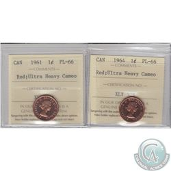 1-cent 1961 & 1964 ICCS Certified PL-66 Red Ultra Heavy Cameo. 2pcs