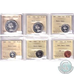 1-cent, 5-cent, 10-cent, 25-cent, 50-cent & Silver $1 1964 ALL ICCS Certified PL-66 Heavy Cameo. 6pc