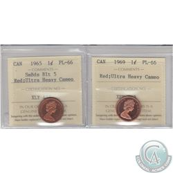 1-cent 1965 SmBds Blt 5 & 1969 ICCS Certified PL-66 Red Ultra Heavy Cameo. 2pcs