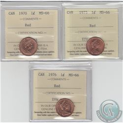 1-cent 1970, 1975 & 1976 ICCS Certified MS-66 Red. 3pcs