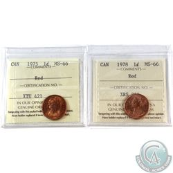 1-cent 1975 & 1978 ICCS Certified MS-66 Red. 2pcs.