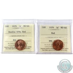 1-cent 1979 & 1979 Double '979' ICCS Certified MS-66 Red. 2pcs.