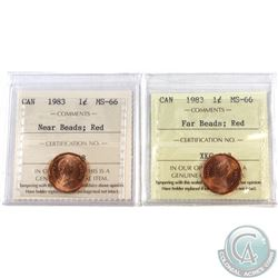 1-cent 1983 Near Beads & 1983 Far Beads ICCS Certified MS-66 Red. 2pcs.