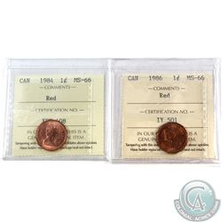 1-cent 1984 & 1986 ICCS Certified MS-66 Red. 2pcs.