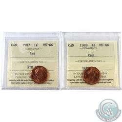 1-cent 1987 & 1989 ICCS Certified MS-66 Red. 2pcs.