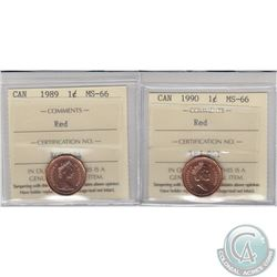 1-cent 1989 & 1990 ICCS Certified MS-66 Red. 2pcs
