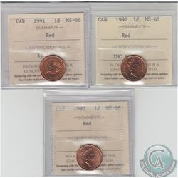 1-cent 1991, 1992 & 1993 ICCS Certified MS-66 Red. 3pcs