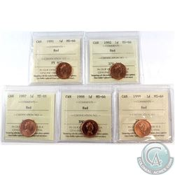 1-cent 1991, 1992, 1997, 1998, 1999 ICCS Certified MS-66 Red. 5pcs.