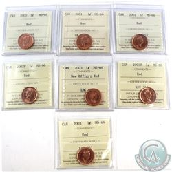 1-cent 2000, 2001, 2002, 2002P, 2003, 2003P, & 2003 New Effigy ICCS Certified MS-66 Red. 7pcs.