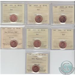 1-cent 2001, 2002P, 2003P, 2003P New Effigy, 2003, 2004 & 2004P Magnetic ICCS Certified MS-66 Red. 7