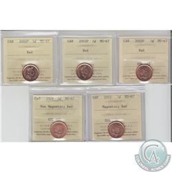 1-cent 2002P, 2003P, 2005P, 2009 Non Magnetic & 2012 Magnetic ICCS Certified MS-67 Red. All coins ti