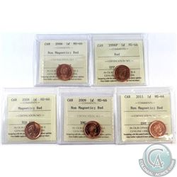 1-cent 2006, 2006P, 2008 Mag., 2009 Non Mag., & 2011 Non Mag. ICCS Certified MS-66 Red. 5pcs.