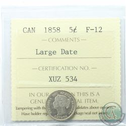 5-cent 1858 Large Date ICCS Certified F-12