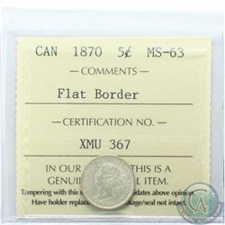 5-cent 1870 Flat Border ICCS Certified MS-63
