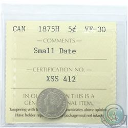 5-cent 1875H Small Date ICCS Certified VF-30