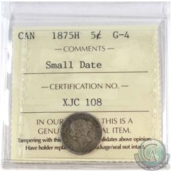 5-cent 1875H Small Date ICCS Certified G-4.