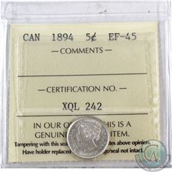 5-cent 1894 ICCS Certified EF-45. Full white coin with strong qualities for grade.