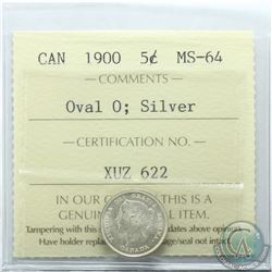 5-cent 1900 Oval 0 ICCS Certified MS-64. Coin has nice lustre.