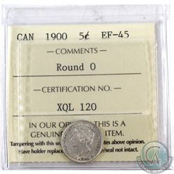 5-cent 1900 Round 0 ICCS Certified EF-45.