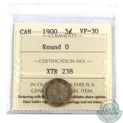 5-cent 1900 Round 0 ICCS Certified VF-30