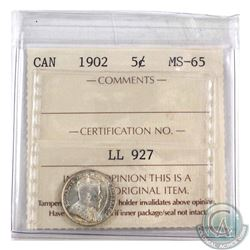 5-cent 1902 ICCS Certified MS-65