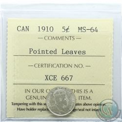 5-cent 1910 Pointed Leaves ICCS Certified MS-64