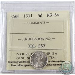 5-cent 1911 ICCS Certified MS-64  A full white coin.