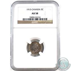 5-cent 1915 NGC Certified AU-58. Features golden toning around rim on obverse & multicolour toning o