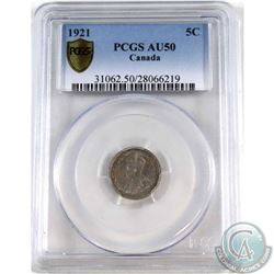 5-cent 1921 PCGS Certified AU-50  *RARE KEY DATE* Exceptional coin with choice eye appeal.