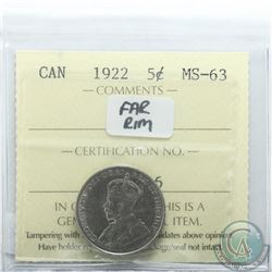 5-cent 1922 Far Rim ICCS Certified MS-63