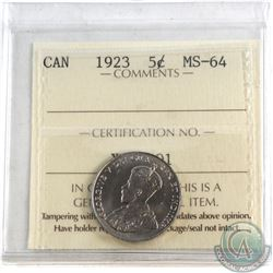 5-cent 1923 ICCS Certified MS-64. A nicely struck coin with attractive rolling Mint Luster.